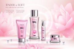 Kosmetyków produktów reklamy skład ilustracja wektor