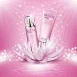 Kosmetyków produktów reklamy skład na różowym iskrzastym tle z lotosowym kwiatem royalty ilustracja