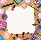 Kosmetyka ramowy tło Jaskrawy płaski produkt Karta, zaproszenie, sztandaru szablon Zdjęcie Royalty Free