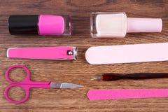 Kosmetyki i akcesoria dla manicure'u lub pedicure'u, pojęcie gwóźdź opieka Zdjęcie Stock