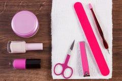 Kosmetyki i akcesoria dla manicure'u lub pedicure'u, pojęcie gwóźdź opieka Obraz Stock
