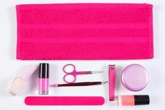 Kosmetyki i akcesoria dla manicure'u lub pedicure'u, pojęcie gwóźdź opieka Obraz Royalty Free