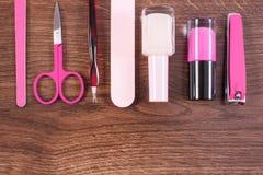 Kosmetyki i akcesoria dla manicure'u lub pedicure'u, pojęcie gwóźdź opieka Zdjęcia Stock