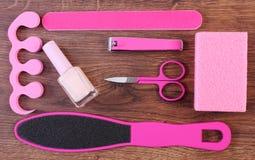 Kosmetyki i akcesoria dla manicure'u, pedicure, pojęcie stopa, ręka lub gwóźdź, dbają Zdjęcie Royalty Free