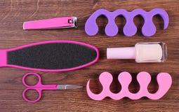 Kosmetyki i akcesoria dla manicure'u, pedicure, pojęcie stopa, ręka lub gwóźdź, dbają Zdjęcie Stock