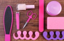 Kosmetyki i akcesoria dla manicure'u, pedicure, pojęcie stopa, ręka lub gwóźdź, dbają Fotografia Stock