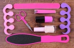Kosmetyki i akcesoria dla manicure'u, pedicure, pojęcie stopa, ręka lub gwóźdź, dbają Fotografia Royalty Free