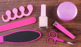 Kosmetyki i akcesoria dla manicure'u, pedicure, pojęcie stopa, ręka lub gwóźdź, dbają Obrazy Stock