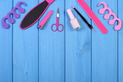 Kosmetyki i akcesoria dla manicure'u, pedicure, pojęcie stopa, ręka lub gwóźdź, dbają, kopiują, przestrzeń dla teksta Obrazy Royalty Free