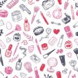 Kosmetyki i makijaż wzór Obrazy Stock