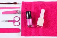 Kosmetyki i set narzędzia manicure'u lub pedicure'u, pojęcie gwóźdź opieka Obraz Stock
