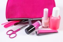 Kosmetyki i set narzędzia z menchiami manicure'u lub pedicure'u zdosą kosmetyka, pojęcie gwóźdź opieka Zdjęcie Stock