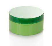 Kosmetyki kremowi w zielonym słoju Zdjęcia Stock