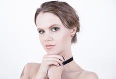 Kosmetyki modelują fotografię z jasną twarzą Fotografia Royalty Free