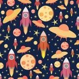 Kosmisch Naadloos Patroon Kleurrijke vectordruk met maan, raket en sterren Stock Foto's