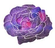 Kosmisch nam toe Hand-drawn bloem met melkweg vector illustratie