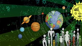 Kosmische Illustration mit Sonnensystem Stockbild