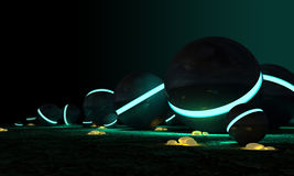 Kosmische Kugeln und glühende gelbe Steine Lizenzfreie Stockfotos