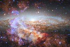 Kosmische Landschaft, bunte Zukunftsromantapete mit endlosem Weltraum stock abbildung