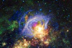 Kosmische Landschaft, bunte Zukunftsromantapete mit endlosem Weltraum vektor abbildung