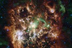 Kosmische Landschaft, ehrfürchtige Zukunftsromantapete mit endlosem Weltraum lizenzfreie abbildung