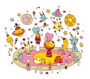 Kosmische Liebesgruppe Zeichentrickfilm-Figuren Stockbild