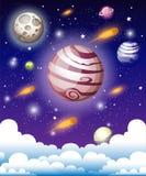 Kosmische Melkwegachtergrond met nevel, stardust en heldere glanzende sterren Vectorillustratie voor uw ontwerp, kunstwerken ruim royalty-vrije illustratie