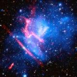 Kosmische Melkwegachtergrond met nevel, stardust en heldere glanzende sterren Vectorillustratie voor uw ontwerp, kunstwerken Wat  royalty-vrije illustratie