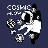 Kosmische miauw Vectorhand getrokken illustratie van kat in ruimtehelm met planeten stock illustratie