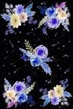 Kosmische prentbriefkaar met bloemen stock illustratie