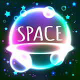 Kosmische ruimte die vectorachtergrond met neonlicht en sterren richten Abstract futuristisch heelal over dark Heelal, kosmos royalty-vrije illustratie