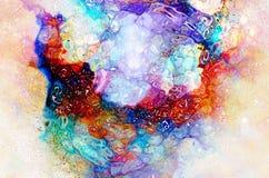 Kosmische ruimte en sterren, kosmisch abstract achtergrond en glaseffect vector illustratie