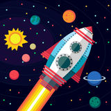 Kosmische ruimte Illustratie in vlakke stijl Stock Fotografie