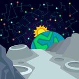 Kosmische ruimte Illustratie in vlakke stijl Royalty-vrije Stock Foto