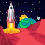 Kosmische ruimte Illustratie in vlakke stijl Stock Afbeelding