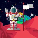 Kosmische ruimte Illustratie in vlakke stijl Royalty-vrije Stock Foto's