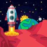 Kosmische ruimte Illustratie in vlakke stijl Stock Afbeeldingen