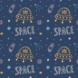 Kosmische ruimte kinderachtig naadloos patroon Stock Foto