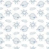 Kosmische ruimte kinderachtig naadloos patroon Royalty-vrije Stock Afbeelding