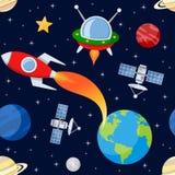 Kosmische ruimte Naadloos Patroon Stock Afbeelding