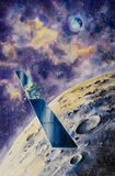 Kosmische ruimtesatelliet dicht bij Maan Royalty-vrije Stock Foto