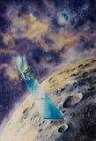 Kosmische ruimtesatelliet dicht bij Maan Stock Fotografie