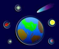 Kosmische stickers van aarde, sterren en planeten royalty-vrije illustratie