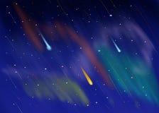 Kosmischer nächtlicher Himmel mit Sternschnuppen backgroung Lizenzfreies Stockbild
