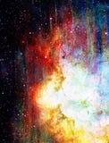 Kosmischer Raum und Sterne, blauer kosmischer abstrakter Hintergrund Stockfotografie