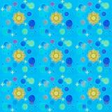 Kosmisches nahtloses Muster Blauer Hintergrund mit Goldsternen, Sonne und blauem Planeten lizenzfreies stockfoto