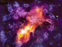 Kosmisk bakgrund för vattenfärg Arkivfoton