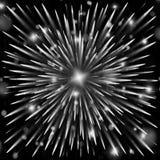 Kosmisk explosion av partiklar Festlig fyrverkeribakgrund fotografering för bildbyråer
