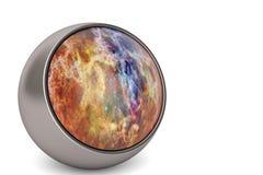 Kosmisk guld- boll på den vita illustrationen för bakgrund 3D royaltyfri illustrationer