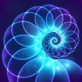 Kosmisk spiral för blå abstrakt vektorfractal Royaltyfri Bild